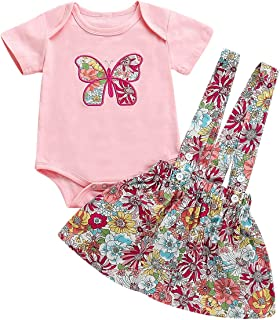 Wallfire 2Pca / set Infant Baby Mädchen Schmetterling Patch Kurzarm Strampler  Blumen Hosenträger Rock Outfits Kleidung Set Size : 9-12M