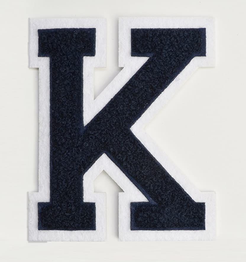 Varsity Letter Patches - Dark Navy Blue Embroidered Chenille Letterman Patch - 4 1/2 inch Iron-On Letter Initials (Navy Blue, Letter K Patch)