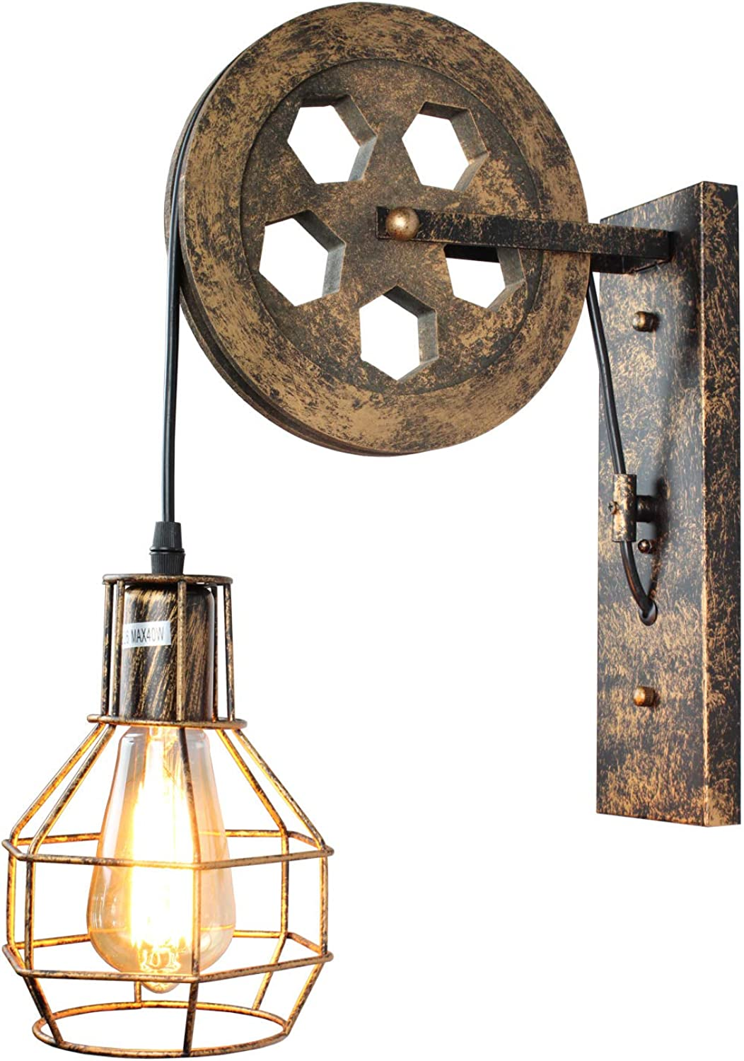 1 Light,Industrial Retro Iron Wall Lamp Creative Personality Lift Pulley Wall Lights Fixture for Indoor Lighting Barn Restaurant in Bronze Finished by ZPKelin