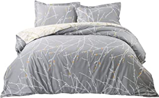 Bedsure Duvet Cover with Shams Set with Zipper Closure - 3 Pieces Printed Pattern Comforter Insert Cover King Size (104x96 inches) - 110 GSM Ultra Soft Hypoallergenic Microfiber Fabric, Grey/Ivory