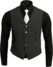 1920s Adult Men's Gangster Shirt, Vest and Tie Costume Accessories Set Roaring 20s Fancy Dress Up Outfit Suit