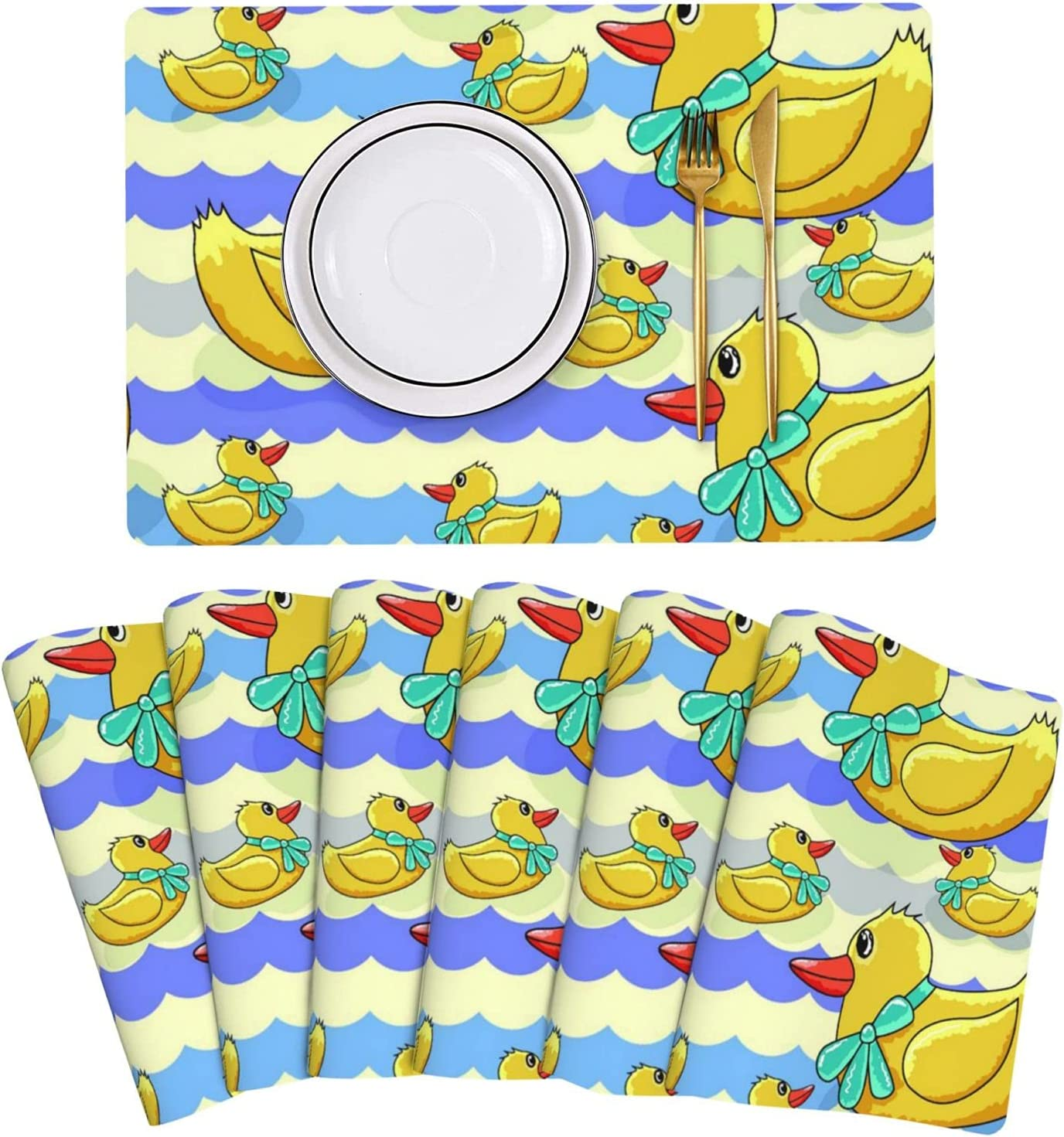 Kansas City Mall Yellow Rubber Ducks Pattern Placemat Leather Special sale item Table 6 of Mats Set