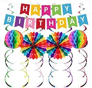 UNIIDECO Colorful Happy Birthday Decoration Kit, Including Rainbow Pom Poms, Banner, Swirls, Bday Decor for Men Women Kids Boy Girl, The Colored Office Birthday Decorations, Candy Party Supplies