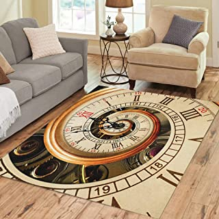 Pinbeam Area Rug Abstract New Year Clock Christmas Time Antique Old Home Decor Floor Rug 5' x 7' Carpet