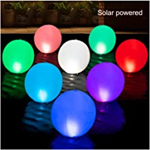 HAPIKAY 2019 Solar Floating Pool Lights - 14-inch Fun Vibrant Changing Colors Balls - Inflatable Floatable Hangable Wateproof - Pool Garden Backyard Christmas Decorations - Pack of 2 Balls