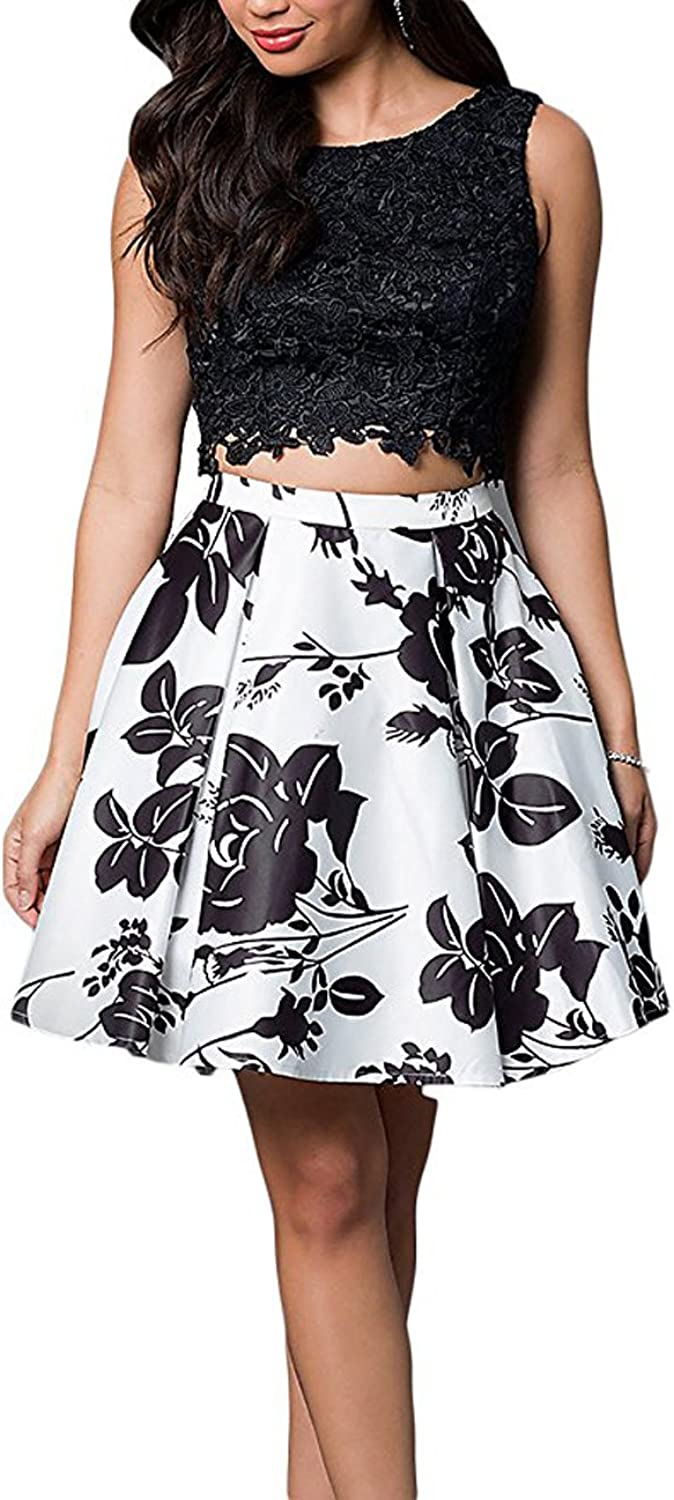 Ellenhouse Women's Two Pieces Short Satin Floral Prom Party Homecoming Dresses