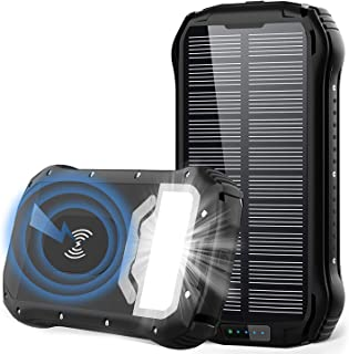 comprar comparacion GRDE Cargador Solar 26800mAh Solar Power Bank Carga Rapida Tipo-C,QI Carga Inalámbrico 4 Modo Iluminación 18 LED para iPad...
