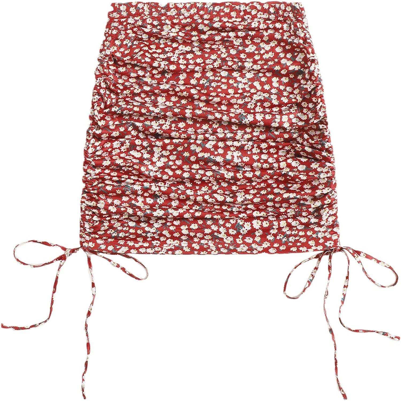 Milumia Women's Boho Ditsy Floral Print Drawstring Side Ruched Bodycon Short Skirt