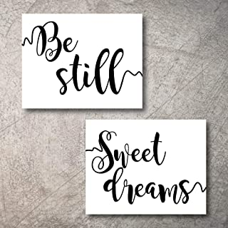 Wall Decor Bedroom Living Room Home Art for Walls Decorations Rustic Quotes Prints Sets to Framed mounted farm kitchen shelf bohemian family bedroom wall decor Clearance (Sweet Dreams Be Still, 5x7)
