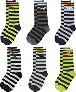 Crew Socks for Boys- Stripe Days of the Week Christmas Socks- Dress & Trouser Socks- 6 Pack Boys' Novelty Cotton Socks