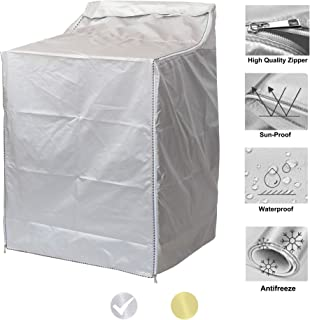"""Upgraded Washer/Dryer Cover for Top-loading Machine – Waterproof, Dustproof, Sun-Proof, W29""""D28""""H43"""" Suitable for most Washers/Dryers on US market (Silver)"""