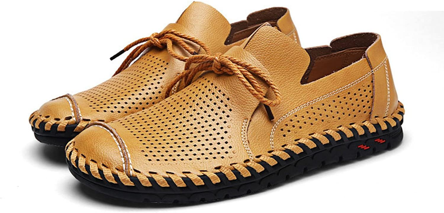 JQNSX Summer Men's Hollow Leather shoes Mesh Breathable Lace shoes Black Yellow Brown