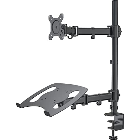 "Gibbon Mounts Laptop Desk Stand Monitor Mount with Laptop Holder, Height Adjustable Notebook Holder,Fits up to 17"" Notebooks,VESA 75,100 Compatible with 13-27"" Screens,17.6 Lbs Capacity per Arm"