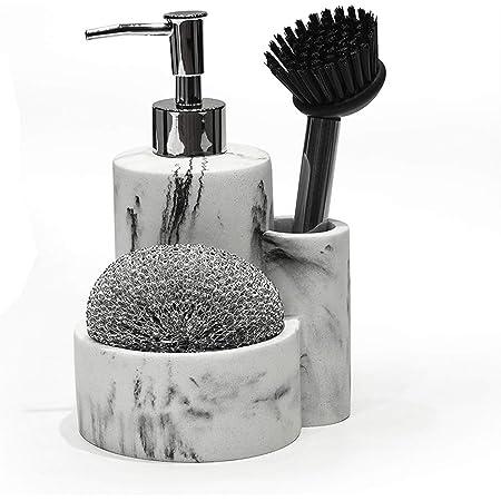 Heylian Marble Soap Dispenser with Sponge Holder and Brush Holder for Kitchen Sink Bathroom Countertop