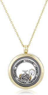 MESTIGE Women Crystal Gold Words of Love Floating Charm Necklace with Swarovski Crystals
