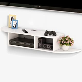 Tribesigns 2 Tier Modern Wall Mount Floating Shelf TV Console 43.3x9.4x7 inch for Cable Boxes/Routers/Remotes/DVD Players/...