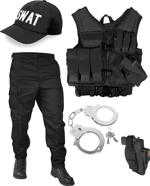 Normani SWAT Kostüm Besteehend aus taktischer Weste, BDU-Hose, Handschellen und SWAT Cap
