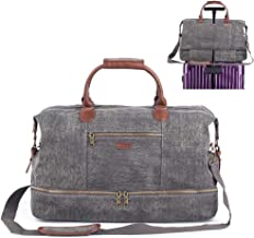 Duffel Bag Weekender Bag for Men and Women Canvas Travel Overnight Carry on Bag with Shoes Compartment Grey
