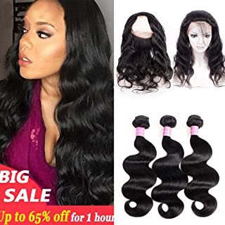 360 Lace Frontal with Bundles18 20 22+16inch Brazilian Body Wave Virgin Hair with Frontal Closure Pre Plucked 360 Lace Frontal Natural Black Color