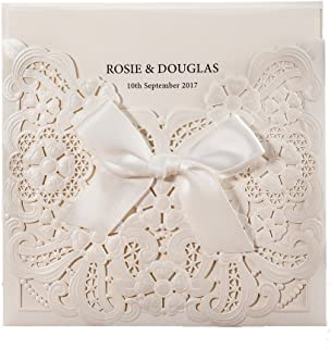 WISHMADE 1 Piece White Laser Cut & Embossed Wedding Invitations Kits with Ribbon Design, Birthday Invites Matched with RSVP & Thank You Cards, for Party Baby Shower
