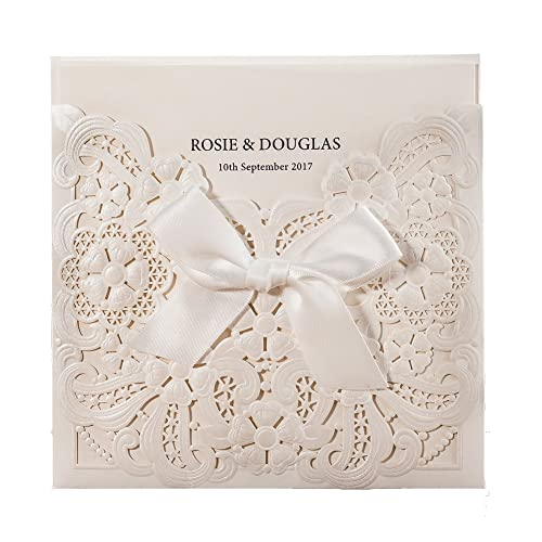 WISHMADE 50 Count White Laser Cut Embossed Wedding Invitations Kits With Ribbon Design Birthday