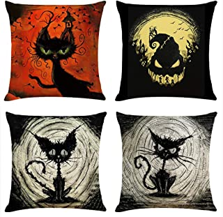 Ogrmar 4PCS 18x18 Throw Pillow Covers Halloween Decorative Couch Pillow Cases Cotton Linen Pillow Cover (Black and Orange)