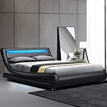 Artiss Double Bed Frame LED Headboard Leather - Black