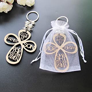 Baptism Favor (12PCS) Keychain Cross Wood Charm Christening Favor First Communion Favor Wedding Party Favor Recuerditos Bautizo