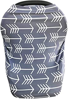 Nursing Cover for Babies Versatile Baby Car Seat Cover for Newborn Boys and Girls Cute Grey with White Arrow
