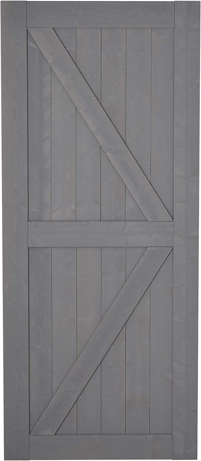 Unfinished Solid Spruce Wood Frame with Pre-Drilled Holes HOMCOM 7 H x 3 W Sturdy Sliding Barn Door Grey