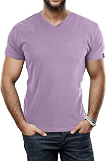 Men's Soft Stretch Cotton Solid Short Sleeve V-Neck T-Shirt, Fashion Casual Tee for Men