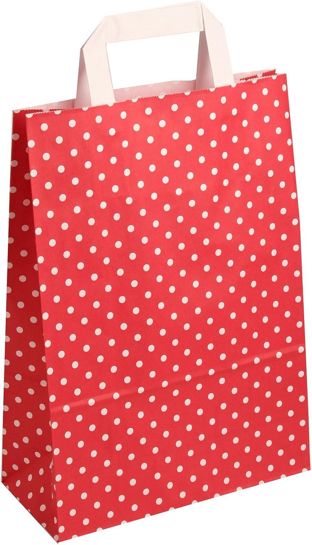 250 Stück farbige Papiertragetaschen Papiertaschen rot-weiß gepunktet gepunktet gepunktet 18  8 x 22 cm B00INWLKRE   Elegant Und Würdevoll    Die Königin Der Qualität    Passend In Der Farbe  aafa39