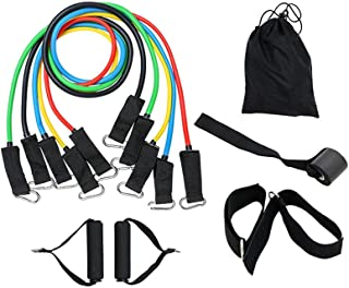 11 PCS Set Exercise Resistance Bands Home Heavy Fitness Tube Gym Strength Training,Tubes Up To 100 Lbs,5 Multi Colour Band...