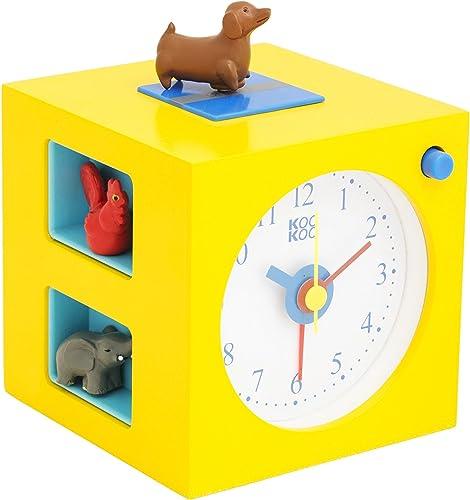 KOOKOO KidsAlarm Jaune, réveil pour Enfants avec 5 Animaux de la Ferme et Ses appels de réveil, enregistrements sonor...