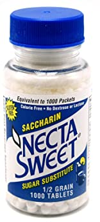 Necta Sweet Saccharin Tablets, 1/2 Grain, 1000 Tablet Bottle (Pack of 2)