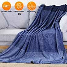 LUXEAR-Fleece Blanket Revolutionary Warm Bed Blanket Japanese Moisture Absorb Heat Storage Blanket for Adults Children Baby on Bed Couch Cozy, Soft, Breathable, Lightweight - 59 X 79 inch-Blue
