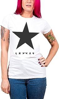 David Bowie デビッド・ボウイ Blackstar ブラックスター 公式 レディース スキニーフィット ホワイト 白 Tシャツ 全サイズ