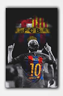 SpecialArt4Wall FCB Messi Canvas Oil Hand Painting Pictures Printed for Wall Art Décor, Home Living Bedroom Office Decorations with Stretched Framed – Ready to Hang