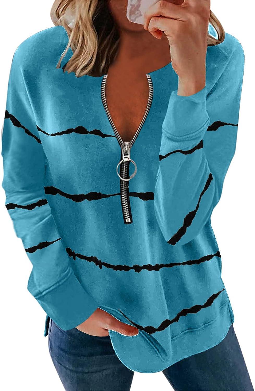 Sweatshirts for Women, Women's Sweatshirt Graphic V neck Long Sleeve Zipper Casual Tops Shirts Blouse Tunics Hoodies