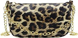 ZGMYC Women Cow Print Underarm Bag Crossbody Purse Fashion Golden Chain Tote Bag Clutch Handbag