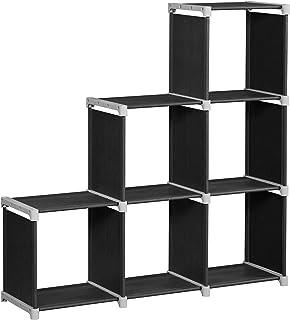 SONGMICS Bibliothèque à 6 Compartiments, Étagère escalier, Meuble de Rangement, Séparateur, pour Salon, Chambre, Salle de ...