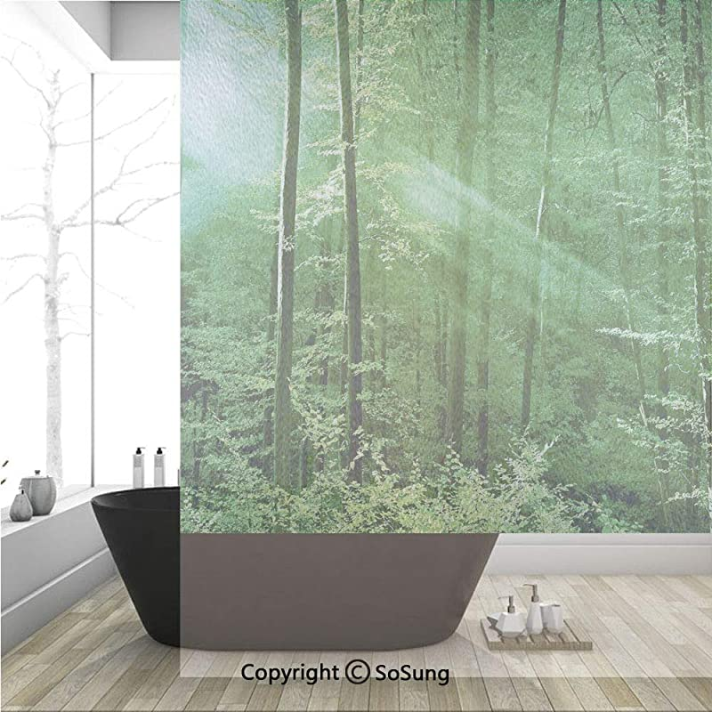 3D Decorative Privacy Window Films Sunlight Bursting Into The Forest Trees Foliage Misty Morning Serenity Picture No Glue Self Static Cling Glass Film For Home Bedroom Bathroom Kitchen Office 36x48 In