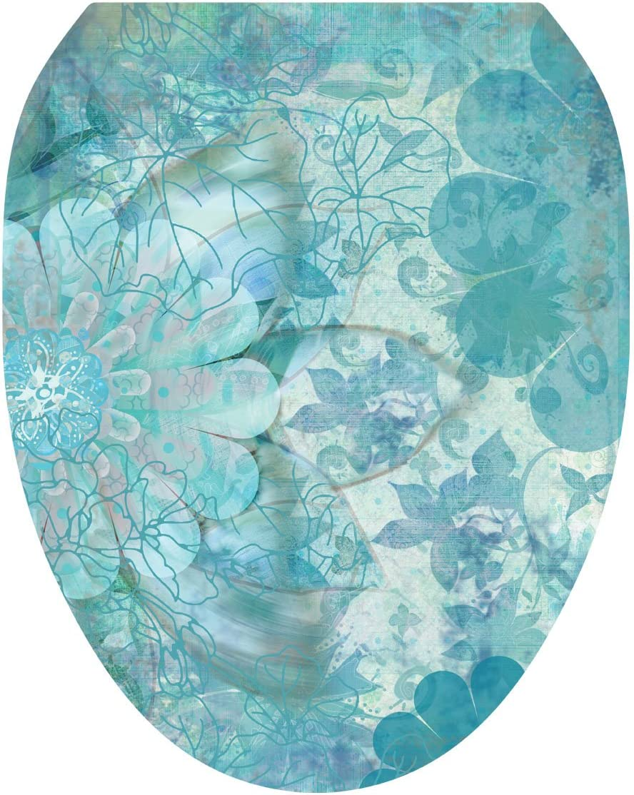 Toilet Tattoos Seat Cover Decal Haze Floral Blue Limited time trial price Size Manufacturer regenerated product