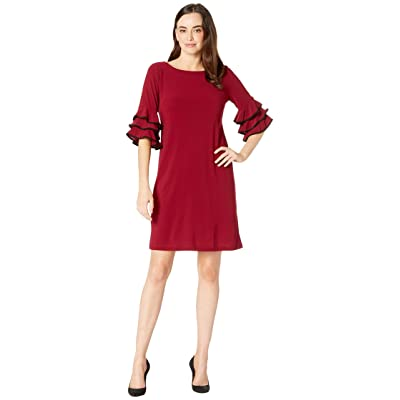Gabby Skye Ruffle Sleeve Dress (Garnet/Black) Women