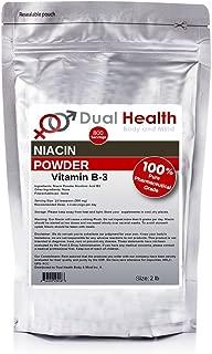 2 lb. Niacin Nicotinic Acid Powder (907.2g) Vitamin B3 Lower Cholesterol Heart Health Pharmaceutical Micronized USP & FCC Food Grade By Dual Health