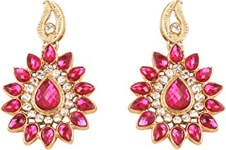 NEW! Touchstone Indian Bollywood Desire Traditional Indian Paisley Floral Motif Pear Shape Fuchsia Stone White Rhinestones...