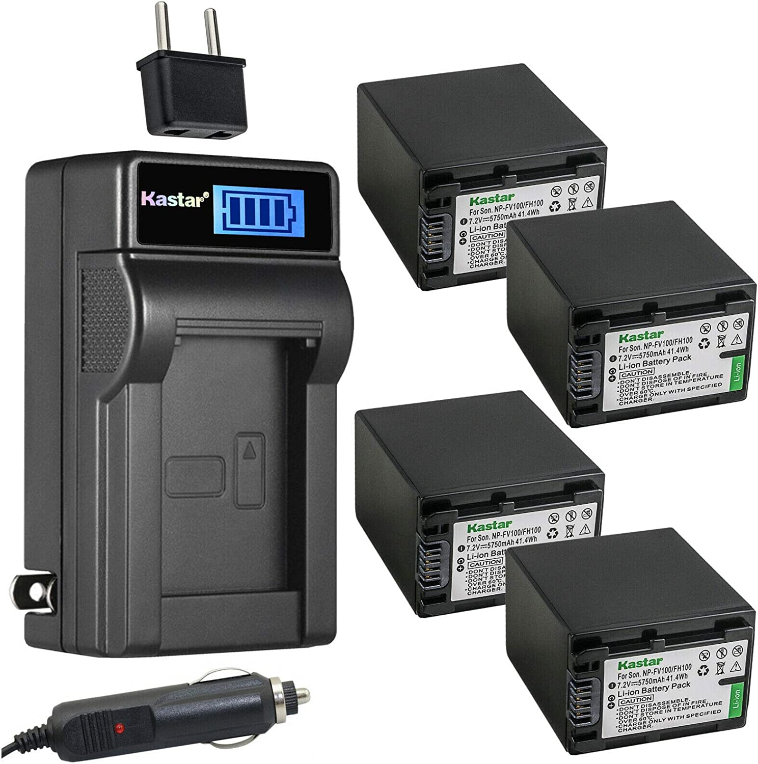 Kastar 4-Pack NP-FH100 Free Under blast sales Shipping New Battery and wit Charger AC LCD Compatible