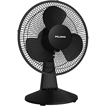 PELONIS PFT30T2ABB-V Portable 3-Speed 12-Inch Oscillating Table Air Circulation Fan, 2020 New Model Black