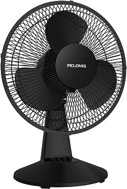 PELONIS PFT30T2ABB-V Portable 3-Speed 12-Inch Oscillating Table Air Circulation Fan, 2020 New Model Black