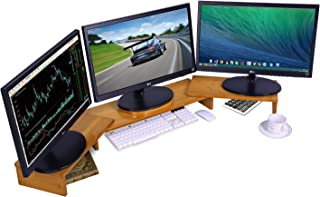 Ufine Bamboo Monitor Stand Riser Adjustable Length Angle for 3 Monitors Dual Triple Computer Screen Raiser PC Laptop Holder Desktop Organizer for Home Dorm Office, Space Saving (42-50 Inch)